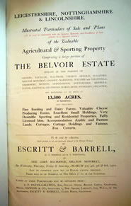 The 1920 Belvoir Estate auction catalogue
