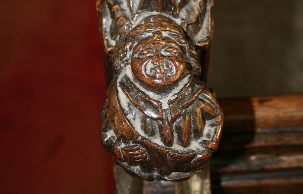 This Croxton church pew probably came from the abbey and may depict its ablest abbot - Thomas Pegge.