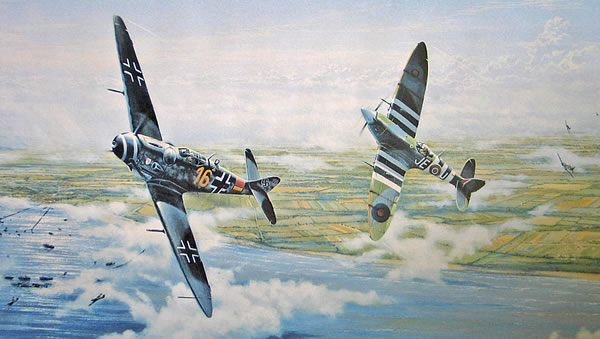 Johnnie's spitfire was painted with his initials: JEJ. Use your keyboard arrow keys to view more images.