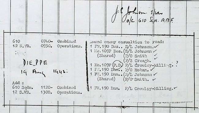 Johnson records his 'two before breakfast' kills which earned him a Bar to his DFC.