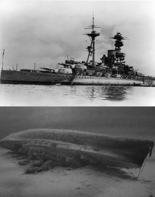 HMS Royal Oak in her prime - and lying on the sea bed.